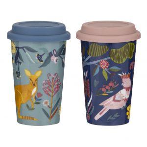 Australiana Double Wall Travel Mug 2 Asst Designs 6 Fauna/6 Birdlife 9x9x14.5cm/300ml
