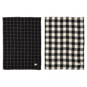 Academy Hardy Gingham Checked Double Cloth Tea Towel Set/2 Black/Natural 50x70x0.3cm