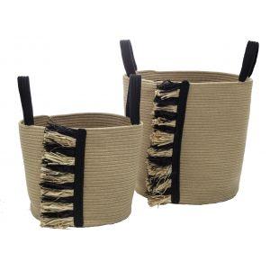 Amalfi Tutta Basket Set/2 Natural/Black 36x36x32cm/38x38x44cm