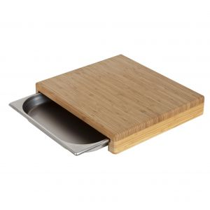 MasterPro Bamboo Cutting Board with Tray Board 39.5x35x6.5cmTray 35x32.5x4cm Natural