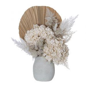Rogue Dried Hydrangea Look-Maliah Pot White/Cream 50x30x54cm