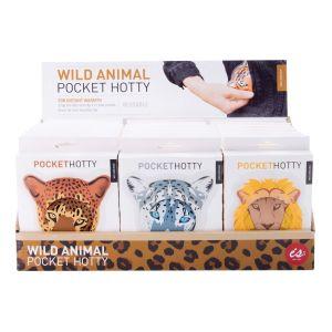 IS GIFT Pocket Hotty - Wild Animals  assorted Lion, Leopard, Snow Leopard & Tiger. Designed in Australia