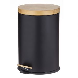 Davis & Waddell Newson Step Can with Bamboo Lid Black/Natural 29.2x29.2x44cm/20L