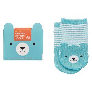 Petit Collage Organic Socks - Bear (1 Pair) Blue 12x6x0.3cm
