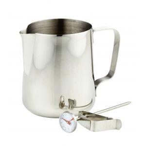 Leaf & Bean Milk Frothing Jug & Thermometer Stainless Steel 13x8x13cm/600ml/Temp Range -10°-100°C
