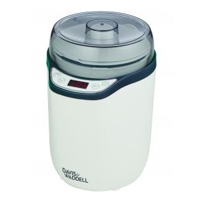 Davis & Waddell 2 in 1 Electric Yoghurt Maker/Fermenter White/Grey 18x15.5x23.5cm/1.8L & 1.6L Containers