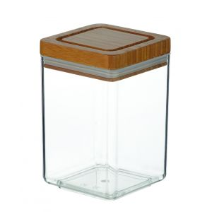 Davis & Waddell Acrylic Canister Square with Bamboo Lid Clear/Natural 11x11x17cm/1.4L