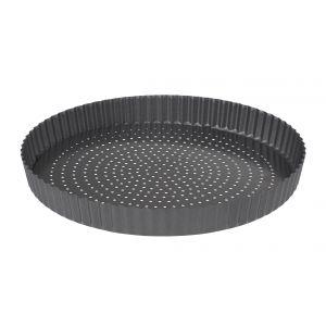 MasterPro CrispyBake N/S Loose Base Round Flan/Quiche Tin Black External 30x30x3.5cm/Internal 29x29x3.5cm