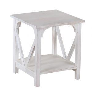 Amalfi Irwin Side Table White Wash 45x45x50cm