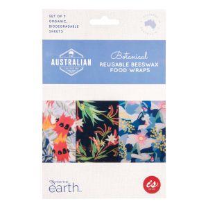 The Australian Collection Reusable Beeswax Food Wraps (Set of 3) - Botanical Multi-Coloured L: 31x36x0.1cm M: 25x28x0.1cm S: 18x20x0.1cm