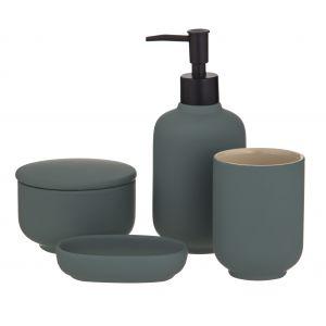 Academy Becket Bathroom Set 4pce Green/Black 16x9.5x18.5cm