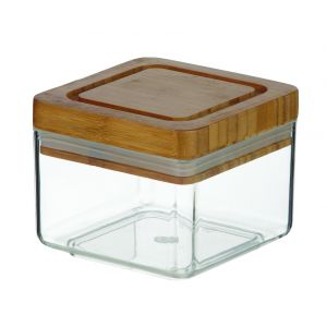 Davis & Waddell Acrylic Canister Square with Bamboo Lid Clear/Natural 11x11x9cm/600ml