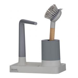 Grand Designs Kitchen Grand Designs Sink Organizer with Brush Grey/Natural Brush Holder 20x12x20cm/Brush 25x6.5x6cm
