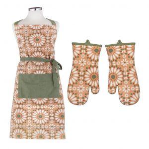 Davis & Waddell Safi Apron & Oven Glove Set/2 Multi/Green 91x69cm/35.5x17cm