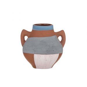 Emporium Pheonix Vase Terracotta/Blue/Grey/Pink 15.5x13.5x15cm