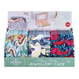 The Australian Collection Jewellery Case - Birds  assorted Galah, Cocktaoo, Kookaburra & Crimson Rosella prints