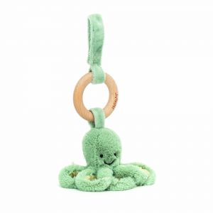 Jellycat Odyssey Octopus Wooden Ring Toy Green 12x12x10cm