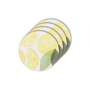 Davis & Waddell Sicily Lemon Round Coaster Set/4 Yellow/Multi 10x10x0.3cm