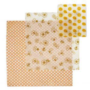 Davis & Waddell Reusable Beeswax Wraps Set 3pce 20x18x0.1cm/28x25.5x0.1cm/35.5x33x0.1cm Lemon/Bee/Polka Dot
