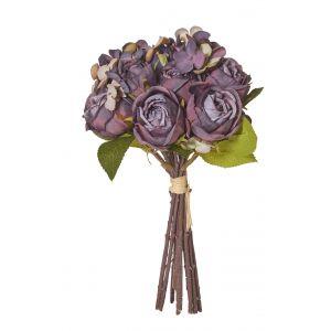 Rogue Rose/Hydrangea Bouquet Dusty Purple 16x16x28cm
