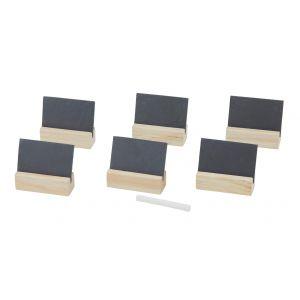 Davis & Waddell Slate and Wood Name Card Set/7 Grey/Natural/White 8x7x2.5cm