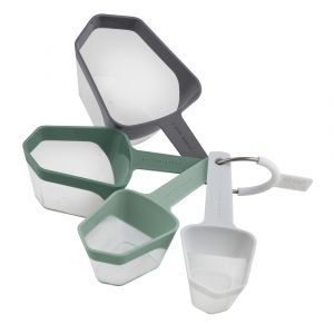 Grand Designs Kitchen  Measuring Cups Set/4 White/Green/Grey 1 cup-1/2 cup-1/3 cup-1/4 cup 8x6x17