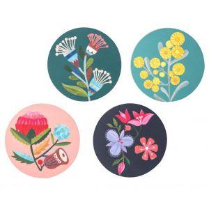 Australiana Flora Coaster Set/4 Correa/Wattle/Waratah/Wild Iris 10x10x0.3cm