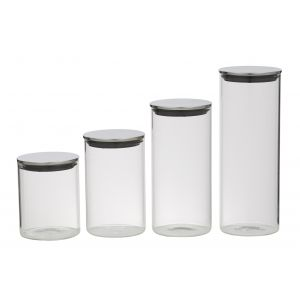 Davis & Waddell Glass Canister with Stainless Steel Lid Set 4pce Clear/Stainless Steel 800ml/1.1L/1.4L/1.8L