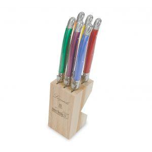 Andre Verdier Debutant Serrated Knife Set/6 Stainless Steel/Orange/Yellow/Purple/Green/Blue/Red Knife 23.5cm/GB 7x6x24cm
