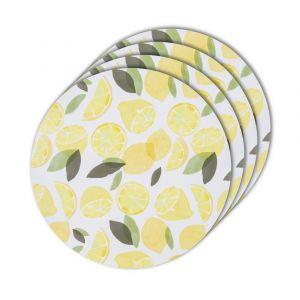 Davis & Waddell Sicily Lemon Round Placemat Set/4 Yellow/Multi 35x35x0.3cm