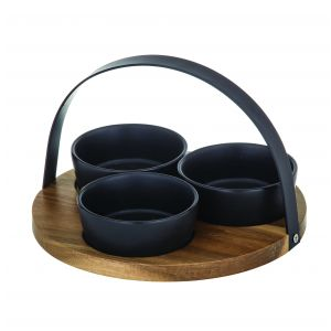 Davis & Waddell Fine Foods Bowl Set/3 on Acacia Tray with Handle Natural/Black 3 Bowl 9.5x9.5x4cm/Tray 22x22x14.5cm