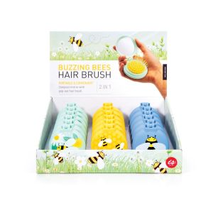 Is Gift Buzzing Bees - Compact Hairbrush/Mirror (3Asst/18Disp) Assorted 6.7x7.5x4cm