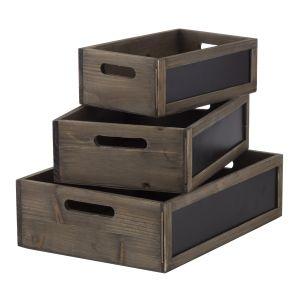 Amalfi Blackboard Box Set/3 Natural/Black 40.5x30.5x12cm/34.5x24.5x11cm/28x18.5x10cm