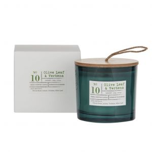 Amalfi Olive Leaf & Verbena Scented Candle Jar Green 9x9x8cm