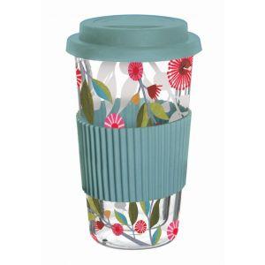 Australiana Gum Blossom Double Wall Glass Travel Mug Blue/Multi/Clear 9x9x16.5cm/400ml