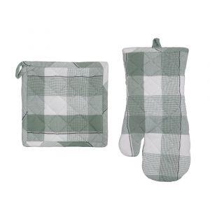 Academy Luka Kitchen Pot Holder & Glove Set/2 Green/White/Black 35.5x17x1cm/20x20x1cm