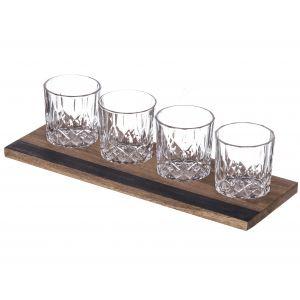 Davis & Waddell Fine Foods Whisky Flight Set 5pce Clear/Natural Tumbler 8.5x7.5x7.5cm/240ml/Tray 37x13x1cm