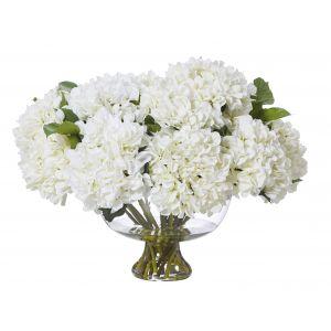 Rogue Garden Hydrangea Mix-Dahlia Bowl White/Glass 70x69x62cm