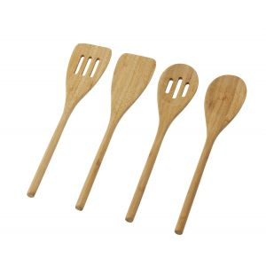 Davis & Waddell Bamboo Utensil Set 4pce Natural 30x6x2cm/Slotted Turner/Turner/Slotted Spoon/Spoon