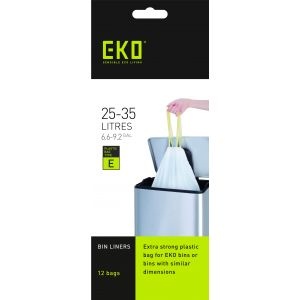 EKO Can Liner Bags (12 bags) White Fits Can 25-35L
