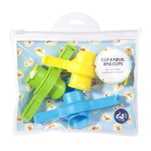 IS GIFT Clip & Pour Bag Clips   assorted Set of 3 Green, Yellow & Blue Clips