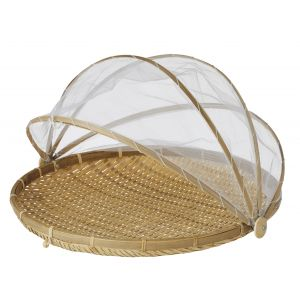 Davis & Waddell Collapsible Mesh Food Cover with Bamboo Tray Natural/White 42x42x26cm