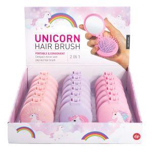 Is Gift Unicorn - Compact Hairbrush/ Mirror Asst. (3Asst/18Disp Assorted 6.7x7.5x4cm