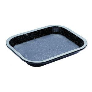 MasterPro Professional Vitreous Enamel Roasting Tray Black External 27x21x4cm/Internal 24x18.5x4cm