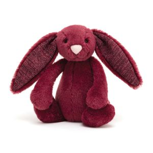 Jellycat Bashful Sparkly Cassis Bunny Small  Red