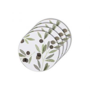 Davis & Waddell Sicily Olive Round Coaster Set/4 Green/Multi 10x10x0.3cm