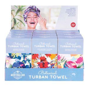The Australian Collection Turban Towel - Botanical (3Asst/12Disp) Assorted 63x24x2cm