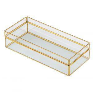 Amalfi Hades Jewelry Display Box With Tray Clear/Gold 27x12.5x6.8cm