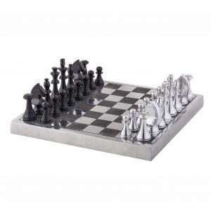 Society Home Corbin Chess Board Set Silver/Black 34x34x12cm