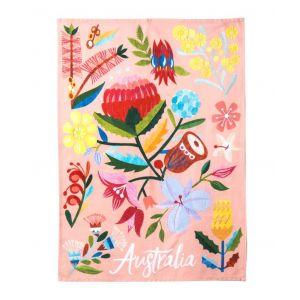 Australiana Flora Tea Towel Pink/Multi 50x70x0.2cm